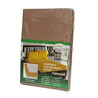 Бязевая простынь на резинке 160*200 + 2 наволочки 50*70см, коричневая