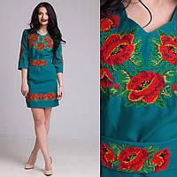 Вышитое женское платье Маки зеленого цвета