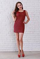 Красное мини-платье из жаккардовой ткани на каждый день