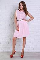 Модное молодежное платье-рубашка в нежном пудровом цвете