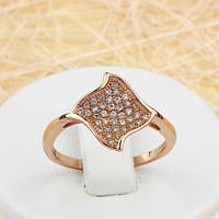002-1500 - Чудесное кольцо с россыпью прозрачных фианитов розовая позолота, 17, 18 р.
