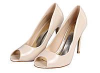 Классические женские туфли с открытым носком Беж