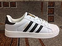 Мужские подростковые кроссовки Адидас Superstar белые с черным  суперцена акция распродажа 41 размер