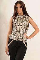 Летняя свободная блуза с воротником стойка 42-52 размеры