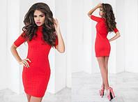 Женское короткое платье под горло 42-48