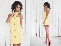 Женское короткое платье под горло 42-46