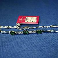 Женский браслет из серебра с зелеными камнями 5007