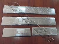 Накладки на пороги mitsubishi lancer 10 (митcубиши лансер х) (2007-  ) логотип гравировкой, нерж.
