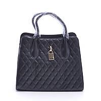 Качественная женская сумка черного цвета из искусственной кожи черная