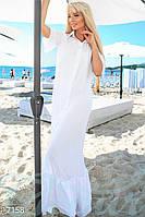 Длинное женственное платье рубашка свободного фасона с рюшами по подолу и на рукавах крепдешин