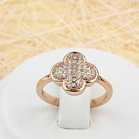 002-1501 - Красивое кольцо с россыпью прозрачных фианитов розовая позолота, 15.5, 16 р.