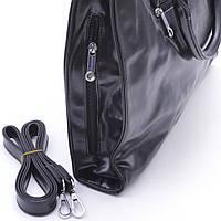Качественная женская сумка черного цвета из искусственной кожи