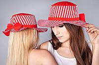 """Шляпка """"Бантик"""" для мам и дочек, красная полоса"""