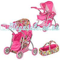 Детская коляска-трансформер для кукол железная Melogo: люлька + корзина для игрушек + регулируемая р