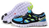 Мужские беговые кроссовки Nike Free Run Plus 2 (найк фри ран) голубые