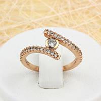 002-1517 - Изящное кольцо с прозрачными фианитами розовая позолота, 16, 16.5 р.