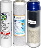 """Комплект Картриджей """"Роса 621"""" для проточных систем очистки воды.ТРИО Thai с цеолитом"""