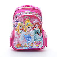 Розовый рюкзак «Love» с принцессами. Школьный рюкзак для девочек. Ортопедический. Хорошая цена. Код: КДН397