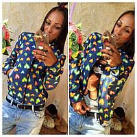 Женская курточка-бомбер из легкого джинса