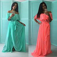 Шифоновое платье в пол с воланом