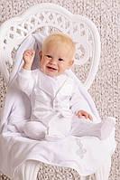 Комплект крестильный для мальчика (комбинезон-человечек, шапочка) Модный карапуз 03-00454-1