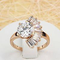 002-1521 - Необычное кольцо с прозрачными фианитами розовая позолота, 16.5, 17, 18 р.