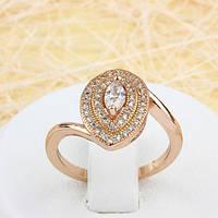 002-1522 - Шикарное кольцо с прозрачными фианитами розовая позолота, 16, 17 р.