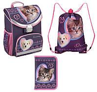 Набор первоклассника для девочки Рюкзак, сумка для обуви, пенал Kite Rachael Hale 529