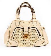 Стильная женская сумка бежевого цвета из искусственной кожи