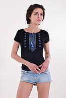 Оттличная повседневная хлопковая футболка вышиванка черная с синим орнаментом