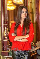 Блузка женская, евро-шифон. Норма. Батал. Красный