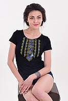 Традиционная женская вышиванка из хлопка с сине-желтым орнаментом