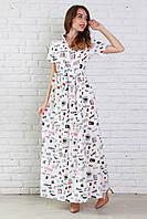 Летнее длинное платье рубашечного фасона из легкого штапеля