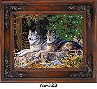 """Схема для вышивания бисером на атласе """"Волки на опушке"""" АЕ-323"""