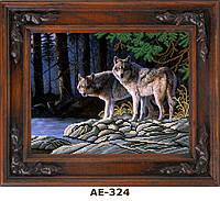 """Схема для вышивания бисером на атласе """"Волки на берегу"""" АЕ-324"""