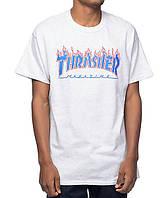 Футболка мужская для скейтбордистов с принтом Thrasher Patriot Flame Ash Grey