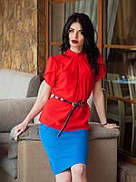 Элегантная шифоновая блуза в алом цвете с оригинальными двойными рукавами-воланами