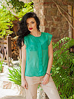 Оригинальная шифоновая блуза в мятном цвете рукава-воланы