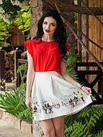 Эффектная красная блуза из прозрачного шифона с оригинальными рукавами