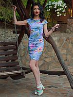 Нарядное коктейльное платье из жаккардовой ткани с цветочным рисунком