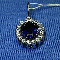 Серебряный кулон с камнем синего цвета для женщин 3885