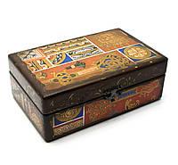 Деревянная шкатулка с тибетским орнаментом