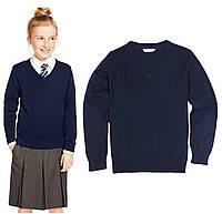 Классический школьный джемпер темно синий на девочку Хлопок 100% Marks&Spencer (Англия)