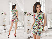Женский стильный костюм с цветочным принтом : блуза без рукава и шорты (2 цвета)