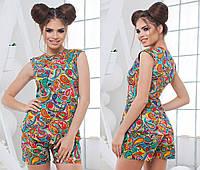 Женский стильный костюм: блуза без рукава и шорты (4 расцветки)