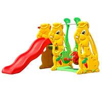 """Детская горка Bambi  """"Зайчик"""" с качелью и баскетбольным кольцом"""