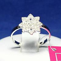 Женское серебряное кольцо с фианитами Цветок 1099