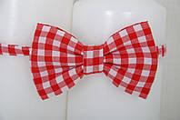 Детский галстук-бабочка Клетка (красный)