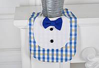 """Стильный слюнявчик """"Рубашка"""" для мальчика (голубой)"""