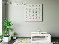 Модульная картина Иероглифы на ткани 100х100 см, арт. FA-10 001467